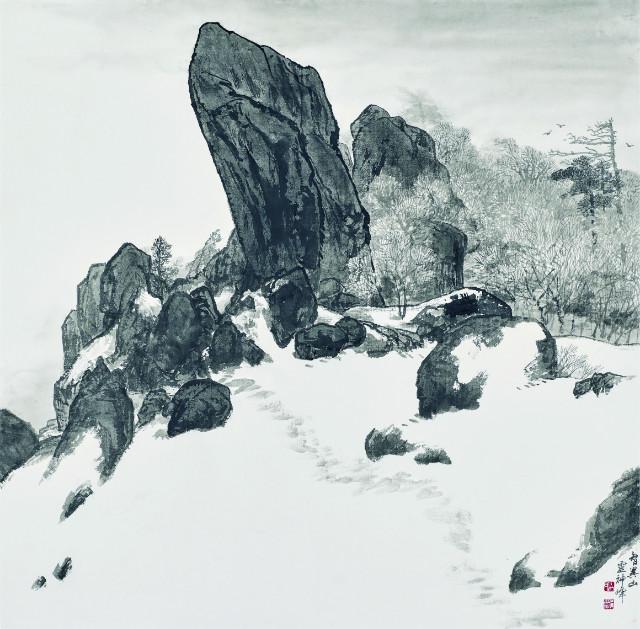 010 백범영, 지리산 영신봉, 70x69cm, 숙선지에 수묵, 2018.jpg